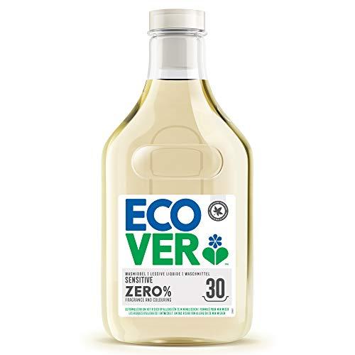 Ecover ZERO Flüssigwaschmittel (1,5 L/30 Waschladungen), Ecover Waschmittel mit pflanzenbasierten Inhaltsstoffen, Sensitiv Waschmittel für Allergiker und empfindliche Haut