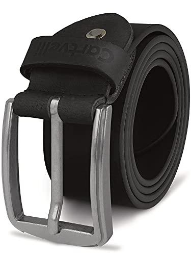 Cartvelli Herren Ledergürtel Schwarz 110cm Made in Germany - 40mm Echt-Leder Gürtel Schnalle Silber Herrengürtel Vollleder Jeansgürtel BS19s-110