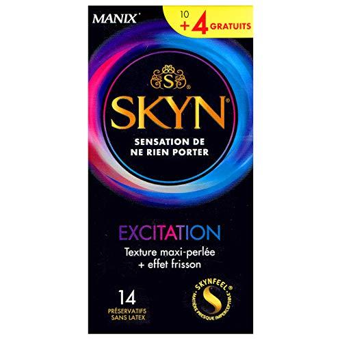 SKYN® Excitation Beaded and Grooved Non-Latex-Kondome, intensive Stimulation mit Kühlungseffekt, 14 Stück