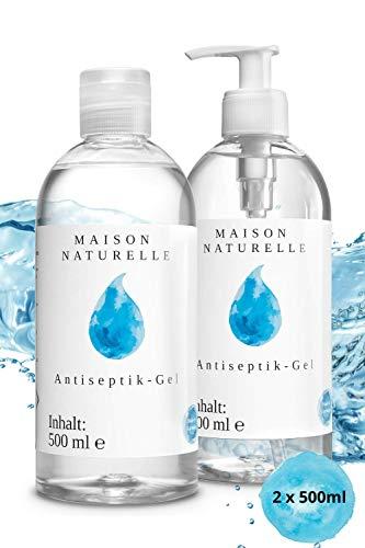 MAISON NATURELLE® – Desinfektionsmittel Hand (2 x 500 ml) – Mit hohem Ethanol-Gehalt - Desinfektion Hände Desinfektionsgel für Haut Hygiene Handgel