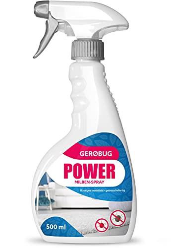 Gerobug® Power Milbenspray - Milbenspray für Matratzen, Polster und andere Textilien (500 ml), Effektives Mittel für Hausstauballergiker, geruchlos und textilfreundlich