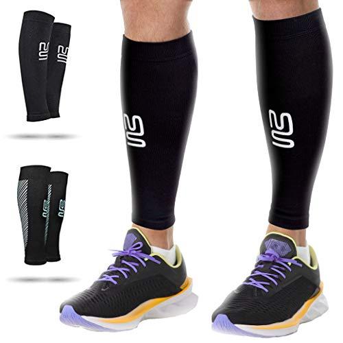 Modetro Sports Wadenbandage – Kompressionsstrümpfe ohne Fuß für Damen u. Herren – Bequeme Sport-Compression-Socks – Schwarz – Large – 1 Paar