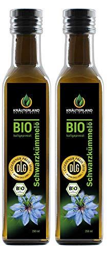 Kräuterland - Bio Schwarzkümmelöl gefiltert 2x250ml- 100% rein, schonend kaltgepresst, ägyptisch, vegan - Frischegarantie: täglich mühlenfrisch direkt vom Hersteller