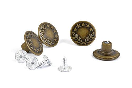 Helmecke & Hoffmann * Vier Jeansknöpfe aus Metall | Gold Silber Bronze | nickelfrei | Jeansnieten nähfreie Druckknöpfe (Bronze)