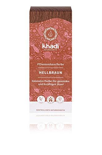 khadi Pflanzenhaarfarbe Hellbraun I Haarfarbe Braun mit Henna und Amla I Naturhaarfarbe 100% natürlich & vegan I Zertifizierte Naturkosmetik I 100g