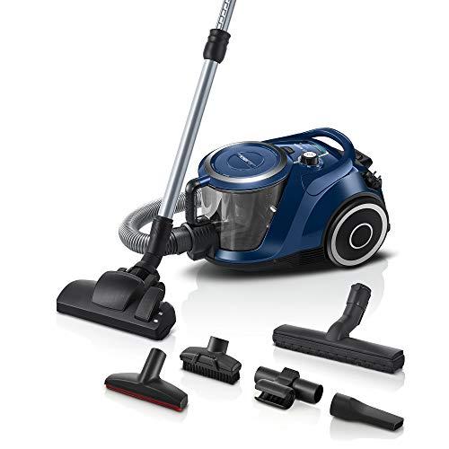 Bosch Staubsauger beutellos Serie 6 BGC41X36, Bodenstaubsauger, ideal für Allergiker, Hygiene-Filter, Bodendüse für Parkett, Teppich, Fliesen, starke Saugleistung, leise, 700 W, blau