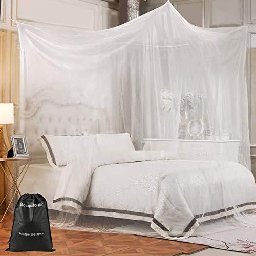 Nabance Moskitonetz Doppelbetten XXL 220x200x200cm Mückennetz Eckiges Fliegennetz Großes Insektennetz inklusive Reparaturset, Tasche, Einfach zu installieren, für Zuhause und Reise