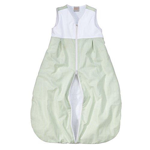 wellyou, Kinder-Baby-Schlafsack, mit Frottee gefüttert, grün-weiß Vichykaro, für Mädchen und Jungen, Größe 74-98