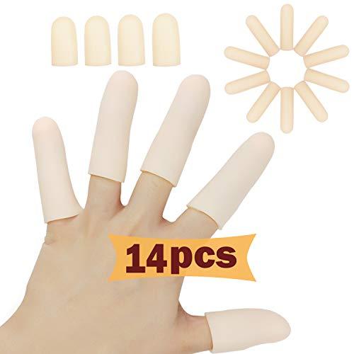 Gel Fingerlinge, Fingerschutz Unterstützung (14 PCS), Neues Material, Silikon Fingerschützer, Finger Verband, Finger Hülsen, die für Triggerfinger, Handekzem, Fingerarthritis und Mehr Groß Sind. (Akt)