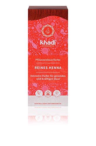 khadi Pflanzenhaarfarbe Reines Henna 100g I Haarfarbe Orangerot, Kupfer, Dunkelrot I Naturhaarfarbe 100% natürlich