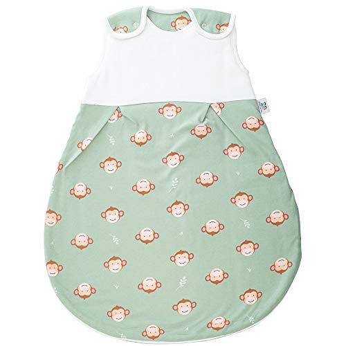 Hosenmax Premium Babyschlafsack Neugeborene – Bio Baumwolle – Ganzjahres Schlafsack Baby – Kugelschlafsack – Frecher AFFE - entspricht 2.5 TOG - mitwachsender Schlafsack (Frecher AFFE, 50/56)