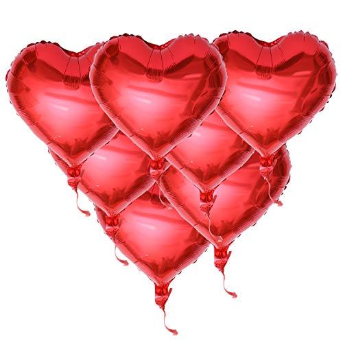 NUOLUX Folienballon Rot Herz Luftballons Herz Helium Ballons mit Seilen für Geburtstag Valentinstag Hochzeit -10 Stück