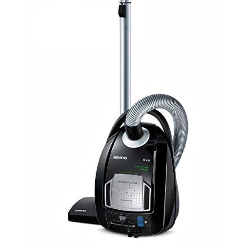 Siemens VSQ4GP1264 Q 4.0 Bodenstaubsauger EEK D (green power allergy, 5 L Staubbeutelvolumen, inklusive umfangreichem Zubehör) schwarz