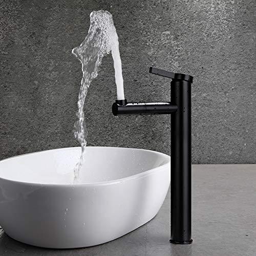 Waschtischarmatur Schwarz Wasserhahn Bad Massiver Messingkonstruktion, Badarmatur 100% bleifreiem und nickelfreiem, Waschbecken Wasserhahn