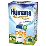 Humana HA PRE, hypoallergene Anfangsnahrung für Babys mit erhöhtem Allergie-Risiko, Milchpulver als Babynahrung, von Geburt an, 500 g (2 x 250 g Beutel)