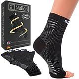 FIT NATION - (2 Paar Kompressionssocken/Fußgelenk Bandage für effektive Kompression beim Laufen & Sport - Kompressionsstrümpfe für Damen & Herren Schwarz S/M