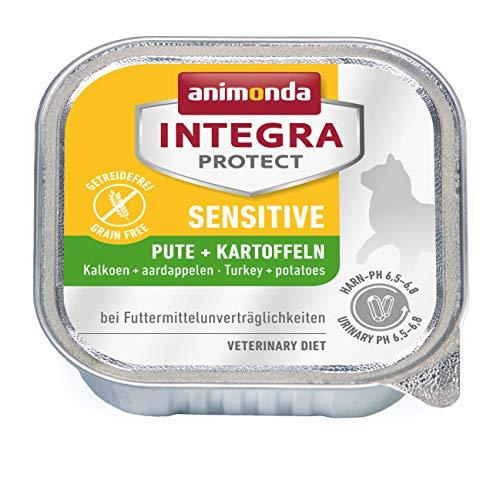 animonda Integra Protect Katze Sensitive, Diät Katzenfutter, Nassfutter bei Futtermittelallergie, Pute + Kartoffel, 16 x 100 g
