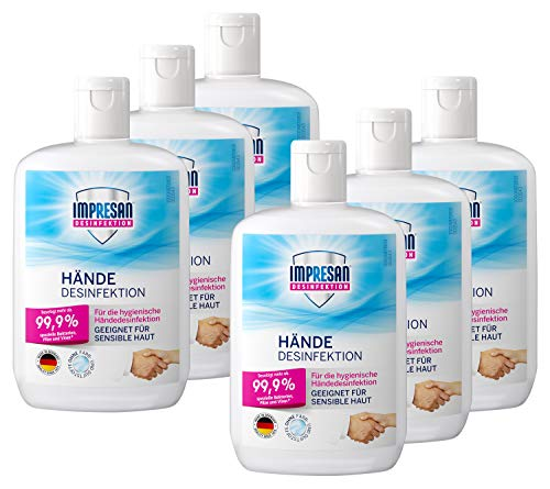 Impresan Hände Desinfektion: Flüssiges Desinfektionsmittel - hygienische Handdesinfektion 6 x 150ml im praktischen Vorteilspack