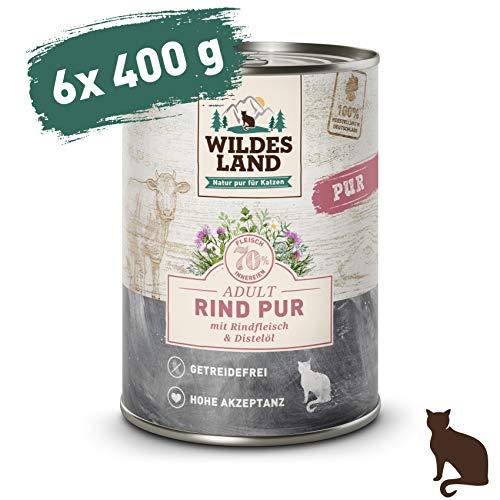 Wildes Land   Nassfutter für Katzen   Nr. 6 Rind PUR   6 x 400 g   Getreidefrei   Extra viel Fleisch   Beste Akzeptanz und Verträglichkeit