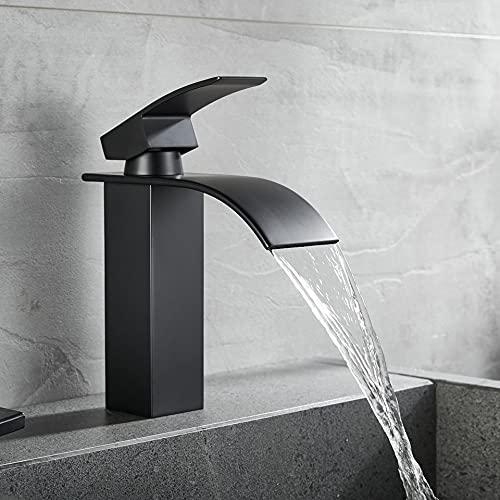 WINDALY Wasserhahn Bad, Waschtischarmatur Waschbecken Armatur Wasserfall Waschtischarmatur, Messing Wasserhahn Badezimmer, Keramikventil mit Heiß und Kalt Wasser für Badezimmer (Schwarz)