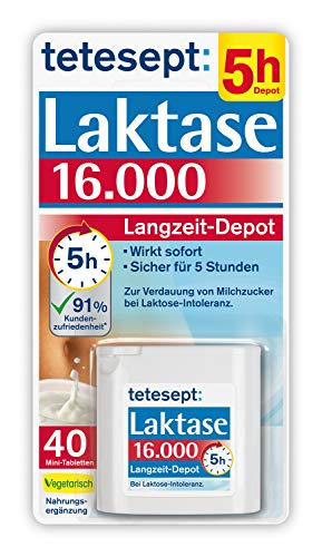 tetesept Laktase 16.000 – Laktasetabletten bei Laktoseunverträglichkeit – Nahrungsergänzungsmittel mit Sofortwirkung & 5h Langzeit-Depot – 1 Dose à 40 Stück