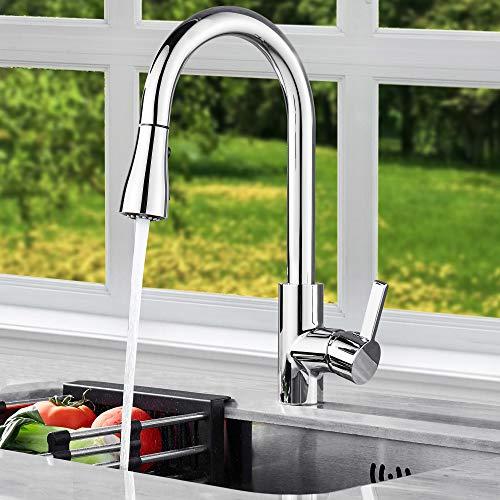 GERUIKE Küchenamatur, Wasserhahn Küche Ausziehbar 360° Schwenkbar, Küchenarmatur Ausziehbar mit Daunensprühgerät, Küche Wasserhahn Edelstahl, 100% Bleifrei und Nickelfrei