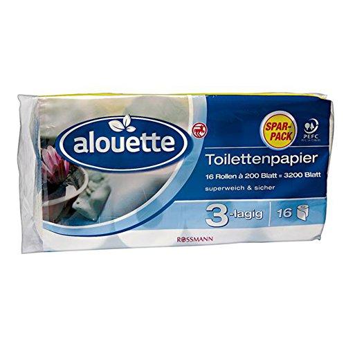 alouette Toilettenpapier Sparpack 3200 Blatt 16 Rollen à 200 Blatt 3-lagig, superweich & sicher, chlorfrei gebleicht