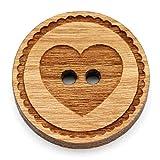 NaturSchatulle Holzknöpfe Gravur Motiv Herz 12-30mm I 25 Stück Kirsche 2 Loch Knöpfe Holz DIY Basteln Nähen Schmuckherstellung Annähen Rund 20mm
