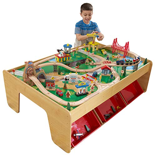 KidKraft 17850 Eisenbahnset und Spieltisch Waterfall Mountain Klassisches Spielzeugeisenbahn-Set mit Zubehör, Naturfarben