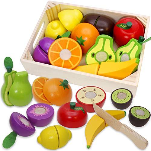 Airlab Kinderküche Spielküche Zubehör aus Holz, Küchenspielzeug Schneiden Obst Gemüse Lebensmittel Holz mit Klett-Verbindung für Kinder, Lernspielzeug Rollenspiele Pädagogisches Spielzeug Geschenk