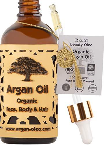 SEHR GUT IM TEST - R&M Beauty-Oleo Bio Argan-Öl aus Marokko - Fair Trade - Haare, Gesicht, Nägel - Pflege-Serum gegen Pickel - Naturkosmetik 100 ml