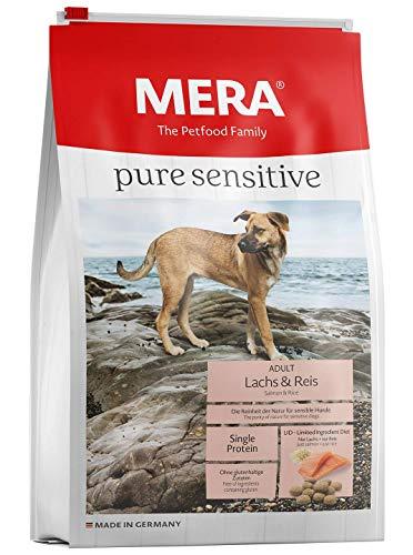 Mera pure sensitive Hundefutter  Lachs & Reis  Trockenfutter für nahrungssensible Hunde - glutenfrei & hypoallergen - Single Protein Futter (12,5 kg)