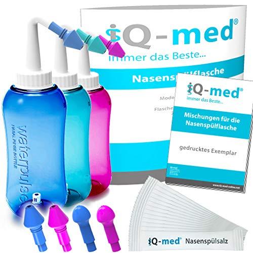 iQ-med Nasendusche 500ml + 44x Salz + Rezeptbuch + 4 Aufsätze (blau)