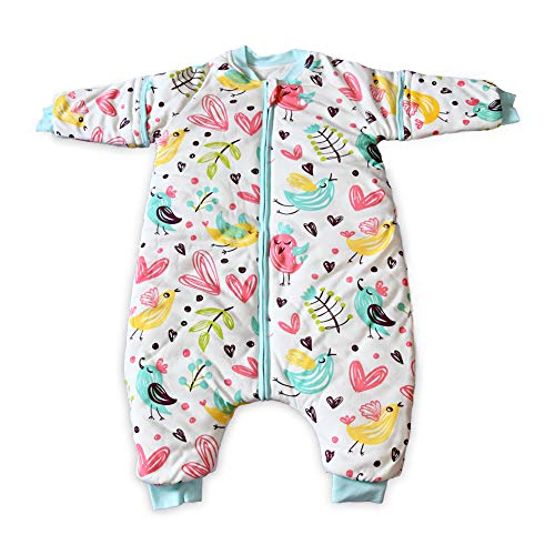 iEvolve 100% Baumwolle Baby Schlafsäcke Pucksack Abnehmbare Ärmel Pucktücher Herbst Baby Wrap Decke Winter Bunte Vögel (90cm)