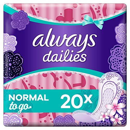 Always Dailies SlipBinden Damen To Go Normal (20 Binden) Mit Dezentem Duft, Flexibel & Bequem, Einzeln Verpackt, Für Ein Gefühl Von Frische