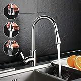 Küchenarmatur, Dalmo DAKF3F Wasserhahn Küche, Einhand-Spültischbatterie mit herausziehbarer Spülbrause chrom, Schwenkbereich 360° & Drei Spülbrause, 100% Blei- und Nickelfrei Küchen- Spültischarmatur