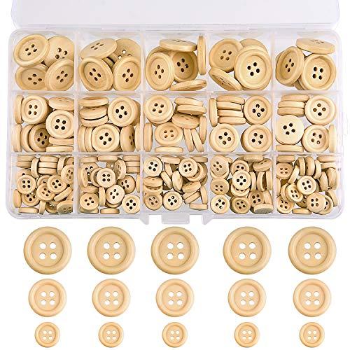 TUPARKA 255 STÜCKE Holzknöpfe Gemischte Größe Natürliche Holz Runde Form Taste zum Nähen Handwerk Dekorationen 15mm 20mm 25mm