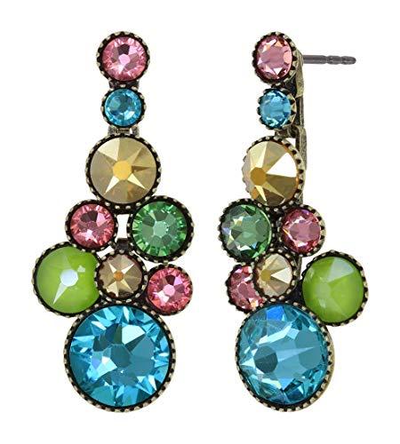 Konplott: pendelnde Ohrstecker Water Cascade Alicia´s Rococo, traubenförmige Kristallohrstecker mit runden Kristallen in multicolor, für Damen/Frauen