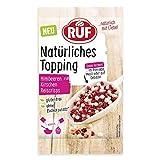 RUF Natürliches Topping Himbeeren, Kirschen, Reiscrisps, glutenfrei, ohne künstliche Zusatzstoffe, 15 g, 12562
