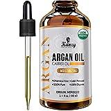 Kanzy Arganöl Haare Bio Kaltgepresst 100% Rein für Gesicht, Haut und Körper, Anti-Aging Vegan Argan oil of Marokko im Lichtschutz Recycelbare Glasflasche (100ml, jojoba gold)