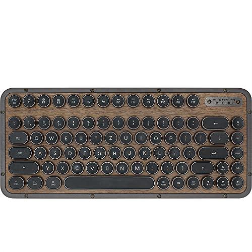 Azio Compact Retro-Tastatur Elwood, mechanische Schreibmaschinen-Tastatur inkl. Handballenauflage, mobile Steampunk-Tastatur mit Bluetooth, kabellos, beleuchtete Tasten, Vintage Look