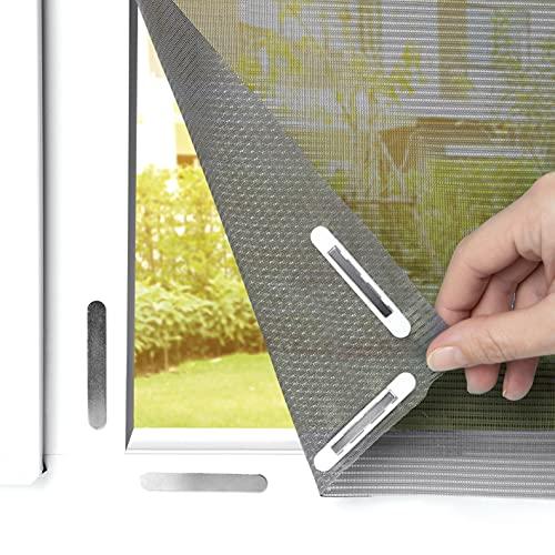 """EASYmaxx Fliegengitter für Fenster """"Magic Click"""" mit extra Pollenschutz   Zuschneidbar für alle Fenster bis 150 x 130 cm   Praktischer Magnetverschluss, einfache Klebemontage [grau]"""