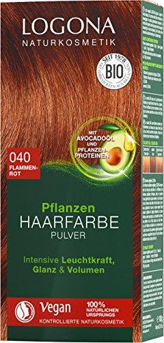 LOGONA Naturkosmetik Pflanzen-Haarfarbe Pulver 040 Flammenrot, Mit Avocadoöl, Kupferiges Rot, Vegan & Natürlich, Rote Natur-Haarfarbe mit Henna, Coloration, 100g