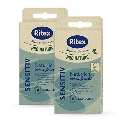 Ritex Pro Nature Sensitiv Kondome, extra feucht, 16 Stück, Made in Germany