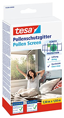 tesa Pollenschutzgitter - zuschneidbarer, transparenter Pollenschutz für Allergiker - für nach innen öffnende Fenster - inkl. selbstklebendem Klettband - Anthrazit - 130 cm x 150 cm