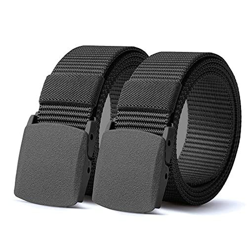 TENINE Taktischer Gürtel, Unisex Gürtel Nylon Canvas Belt, Taktisch Gürtel Schwerlast Militär Nylon Web Gurt Riggers Belt(Schwarz 2Stück)