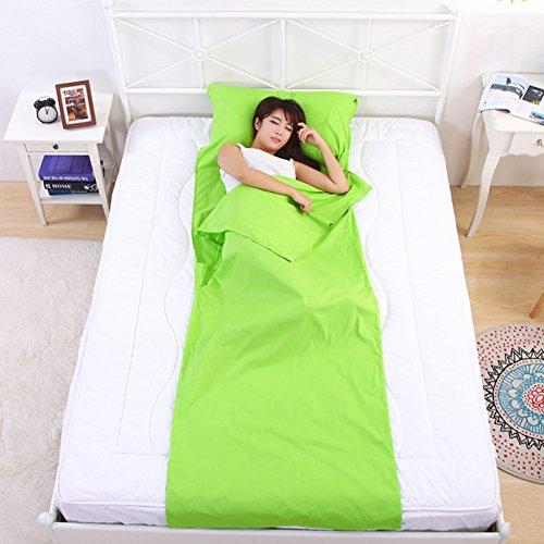 Tragbarer leichter Schlafsack Pure Baumwolle, Schlummertasche, Breathable Camping, Anti-Milbe und Anti-allergiof Adult Camp Bettwäsche