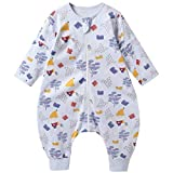 Baby schlafsack mit Beinen für Sommer/Frühling, süßer Cartoon-Schlafsack, neues Design Kurzarm-Schlafsack 0,5 tog (M/Höhe 92cm-101cm, Grau)
