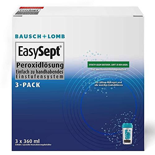 Bausch und Lomb - EasySept Peroxidlösung Kontaktlinsenreiniger für weiche Kontaktlinsen, mit Behälter 3 x 360 ml