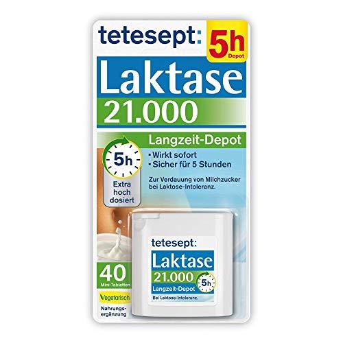 tetesept Laktase 21.000 – Laktasetabletten bei Laktoseunverträglichkeit – Nahrungsergänzungsmittel mit Sofortwirkung & 5h Langzeit-Depot – 1 Dose à 40 Stück